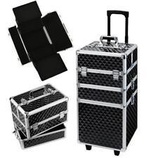 Professional Black Hard Case Cosmetics Organiser Wheeled Makeup Storage Trolley