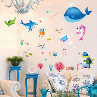 Cartoon Underwater Sea Fish Wall Sticker Baby Kids Bedroom Nursery Decals#