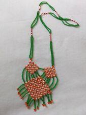 Native motive vintage green orange white rhomboidal beaded pendant necklace