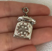 Vintage T.C. Sterling Silver Moveable Telephone Charm Pendant