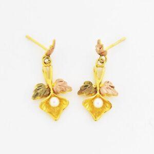 10k Tri Colored Gold Estate Pearl Leaf Design Post Earrings