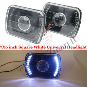 LED White Headlamp 7X6 inch Square Universal Headlight Projector Lamp Pair