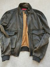 Mens Large FCUK jeans Jacket, Brown, Bomber, Distressed, Travel, Adventure