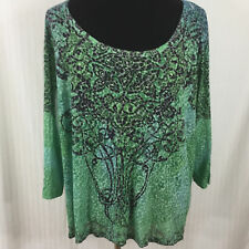 Appropriate Behavior Womens Top Sz 4X Sheer Green Sublimated Embellished