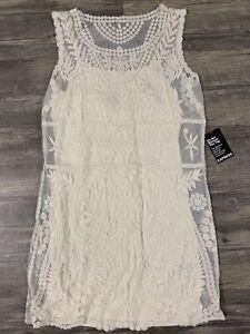 NWT Express Women's Ivory/Off White Lace Dress Size Large