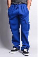 1 NEW Mens Fleece Cargo Pocket Sweat Pants With Drawstring Hip Hop Casual Harem
