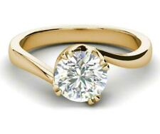Solitaire 2 Ct Round Cut 14K Yellow Gold Over Diamond Engagement & Wedding Ring