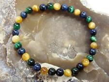 BLUE GREEN YELLOW TIGER EYE Natural Gemstone Men's bracelet 6mm beads ELASTIC