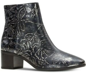 Patricia Nash Marcella Black/Pewter Textured  Floral Leather Ankle Boot, 9M