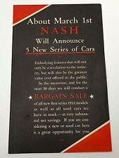 Vintage 1932 Nash Cars First Series Sale Brochure Pamphlet  960 970 980 990