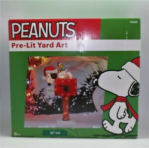 """32"""" Peanuts Snoopy on Mailbox with Christmas Lights 3D Animated Pre Lit Yard Art"""