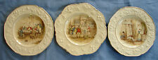 "(3) VINTAGE CROWN DUCAL 11"" CHINA PLATES ~ MR. PICKWICK ~ FLORENTINE EMBOSSED"