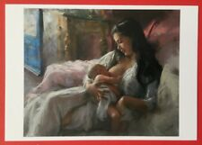 Young mother breastfeeding a baby, modern Russian modern postcard