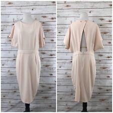 ASOS Womens Sz 10 Peach Sheath Dress Mesh Keyhole Open Back