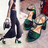 Womens Platform Party Block Heels Ankle Strap Shoes Ladies Open Toe Sandals Size