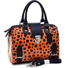 Dasein Womens Handbags Glossy Leather Satchels Polka Dot Barrel Tote Bags Orange