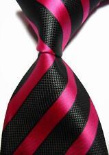 New Classic Stripes Black Rose JACQUARD WOVEN 100% Silk Men's Tie Necktie