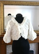 UK IVORY Wedding Prom Faux Fur Wrap Jacket Stole Shawl / Bolero Size 8-14 M P74