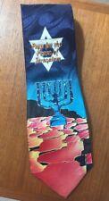 Mens Neck Tie - Pray for the Peace of Jerusalem -Menorah-Star of David -Blue-NEW