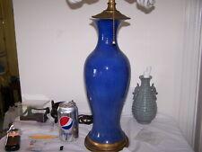 Kangxi ? Qing Mk Large Antique Chinese Porcelain Vase Monochrome Blue