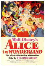 Alice in Wonderland (1951) Style-A Vintage 50s Walt Disney Movie Poster 27x40