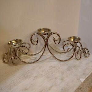 """Silver Plated 3 Candle Candelabra 14"""" Long Hollywood Regency Glamour"""