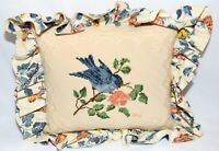 Vintage Signed WW Blue Bird Needlepoint with Floral Cotton Ruffle Pillow 10X12