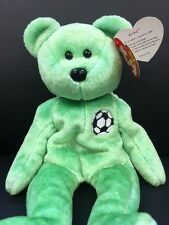 TY Beanie Baby Kicks Green Teddy Bear VERY RARE Retired Collectible TAG ERROR