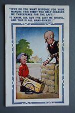 R&L Postcard: Comic, Bamforth 68, PU 1949, Bald Man & Garden Rake, Manure