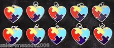 10 Enamel Autism Awareness Heart Puzzle Charms Jewelry Bracelet Earrings Y3