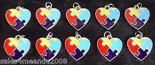 10 Enamel Autism Awareness Heart Puzzle Charms Jewelry Bracelet Earrings Y3