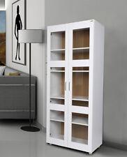 Aspen 2 Glass Door Wardrobe/Cupboard/Pantry - White,5 shelves,modern design