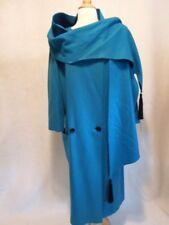 80's VINTAGE Asymmetric Electric Blue Dress Runway Coat Wool S/M