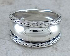 EXOTIC 925 STERLING SILVER BALI STYLE CIGAR BAND RING size 8  style# r2377