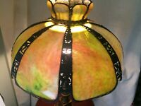 "8 Bent Panel Green Slag Glass Table Hanging Lamp Shade Pierced Metal Work  21""D"