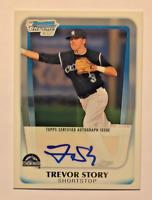 2011 Bowman Chrome Baseball Draft Prospect Autograph Trevor Story RC Rockies