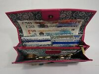 Ladies Leather Purse Wallet Organizer Flap Over Slim Pink Brand ROWALLAN