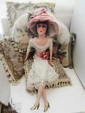 ANTIQUE FRENCH 35 IN. BOUDOIR DOLL WITH EDWARDIAN ANTIQUE LACE HAT AND DRESS