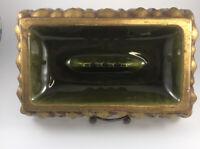 Vintage Rectangular Ceramic Ashtray MCM Retro Barware Gold Hollywood Regency