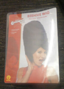 BLACK BEEHIVE WIG ADULTS NEW
