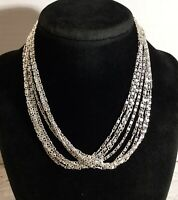 """Vintage Sarah Coventry Silver-tone 8 Strand Chain Necklace 15"""""""