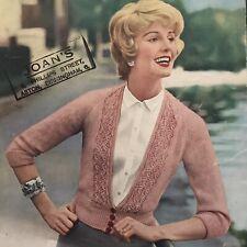 1950s Crop Cardigan Nipped Button Deep V Waist Knitting Pattern Bairns 774 PDF