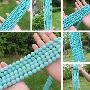 "AAA Natural Blue Amazonite 6,8,10,12mm Round Beads 15"""