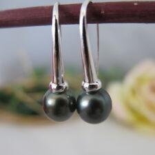 Ohrringe Ohrhänger aus echten Tahiti-ZuchtPerlen 10mm Schwarz, 925er Silber