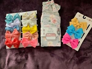 Newborn Baby Wrap with Two sets of Baby Hair Bows