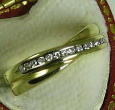 9CT GOLD UK H/M 15pt DIAMOND CROSSOVER RING  SIZE L.5  3.3 GRAMS