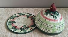 Julie Ueland Enesco #987786 Red Cardinal Covered Plate Holly Berry Christmas