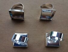 6 SILVER PLATED Adjustable RING BLANKS 20mm SQUARE Beveled Pad ~  Nickel Free