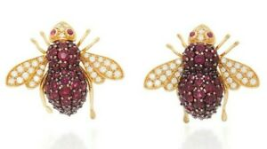 2 Ct Pink Ruby Big Honey Bee Women's Silver Stud Earring 14K Yellow Gold Plated