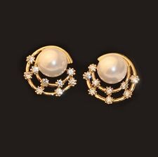 Imitation Pearl Rhinestone Earring Stud Earrings for Pierced Ears